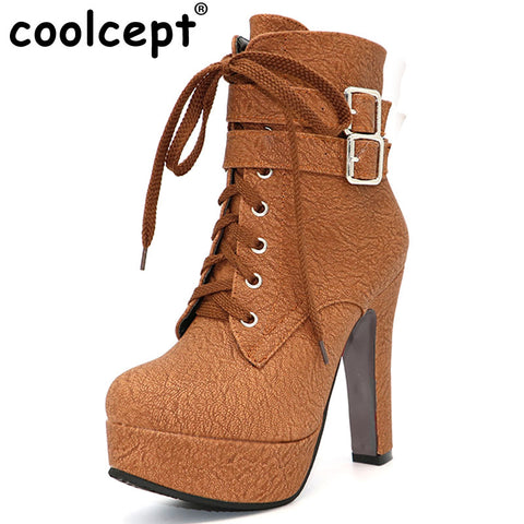 Fashion Women Boots High Heels Ankle Boots Platform Shoes Brand Women Shoes Autumn Winter Botas Mujer Size 30-48