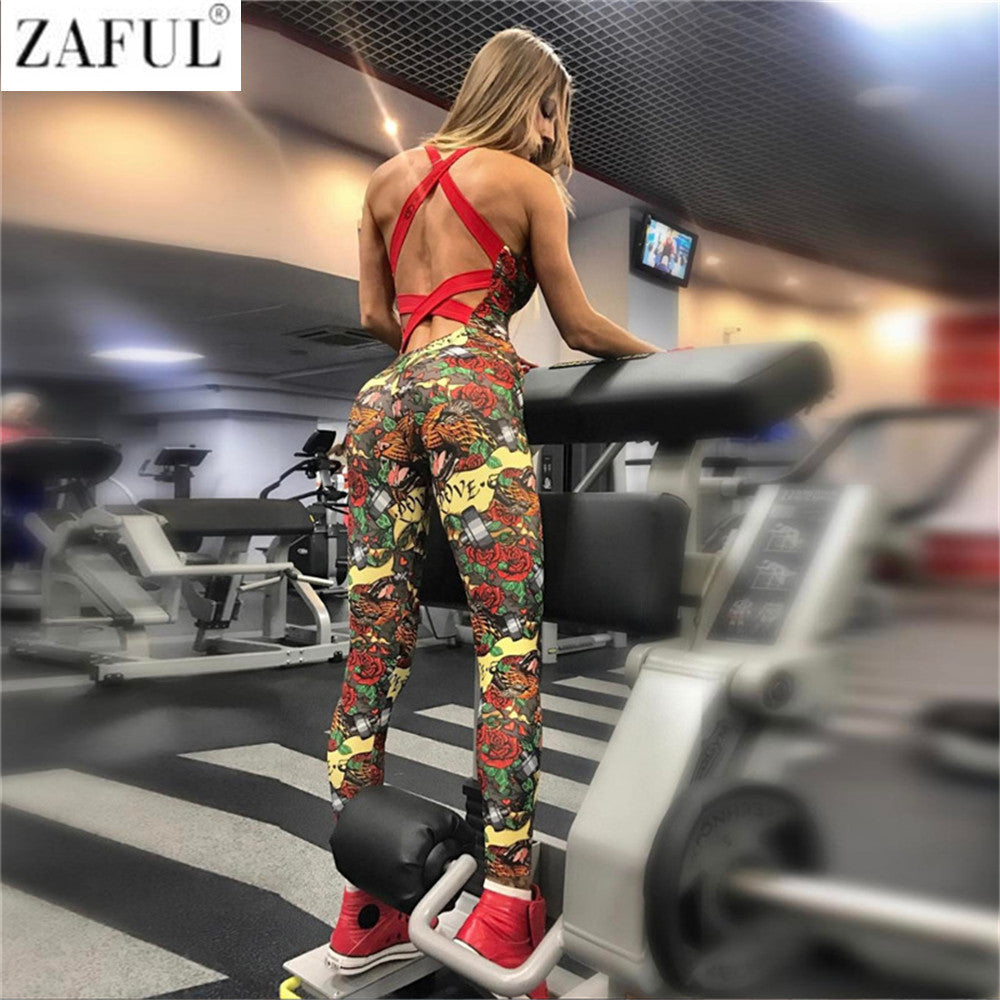 8417b35001 One Piece Sexy Gym Clothing Suit Floral Print Backless Padded Yoga Set  Fitness Running Tight Dance ...