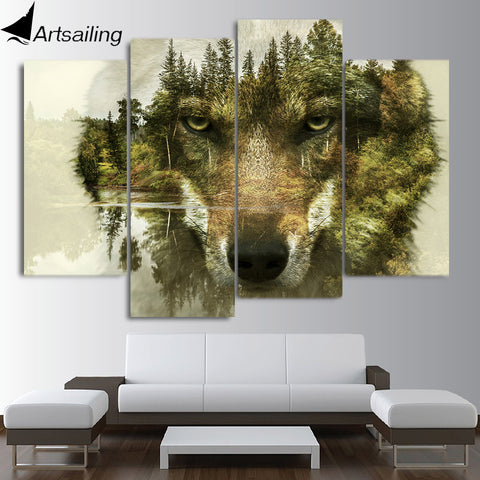 HD printed 4 piece canvas art Abstract animal wolf woods painting wall pictures for living room modern free shipping/CU-2249B