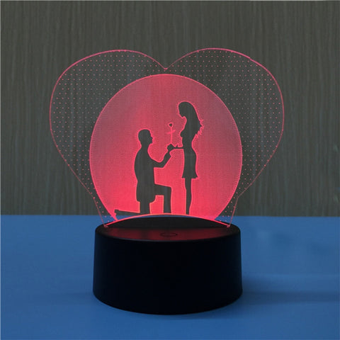 3D Heart Shapes Lamp Multicolor LED Lights Touch USB Remote Control Night Light Table Lamp for Couple Romantic Night Valentine's Day Mother's Day Gift (Marriage Proposal)