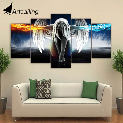 Artsailing 5 piece canvas art anime Angel Girl Wings Fire and Ice painting home decor Modula Painting Modula pictures up-874