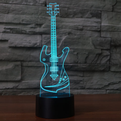 3D Illusion Night Light  LED Light 7 Color with Touch Switch USB Cable Nice Gift Home Office Decorations,Guitar
