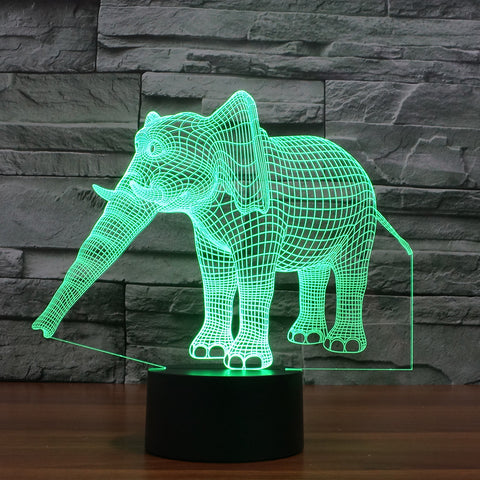 3D Illusion Night Light  LED Light 7 Color with Touch Switch USB Cable Nice Gift Home Office Decorations,Elephant