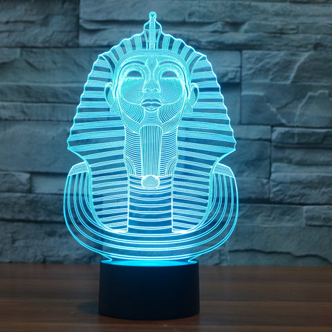 3D Illusion Night Light  LED Light 7 Color with Touch Switch USB Cable Nice Gift Home Office Decorations,Pharaoh