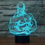 3D Illusion Night Light  LED Light 7 Color with Touch Switch USB Cable Nice Gift Home Office Decorations,Muscle Man