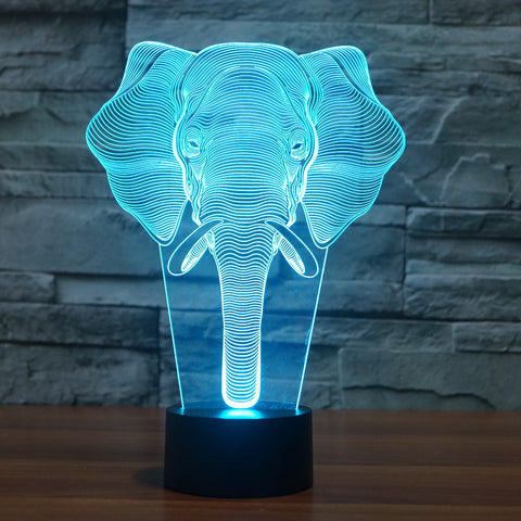 3D Illusion Night Light  LED Light 7 Color with Touch Switch USB Cable Nice Gift Home Office Decorations,Elephant-2