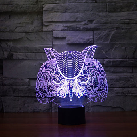 3D Illusion Night Light  LED Light 7 Color with Touch Switch USB Cable Nice Gift Home Office Decorations,Owl