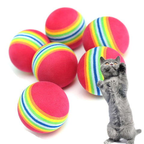 6Pcs Colorful Pet Cat Kitten Soft Foam Rainbow Play Balls Activity Toys Funny