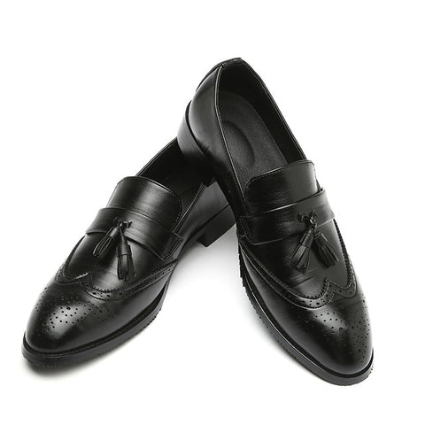Men Leather Dress Shoes Luxury Brand Shoes Classic Tassel Brogue Mans Footwear Formal Shoes Bullock Shoes Big Size 37-48