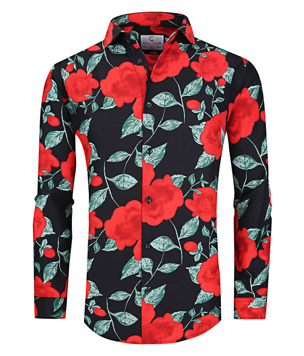 SUSLO COUTURE Floral Red| PERFORMANCE Long Sleeve Button Down Shirt