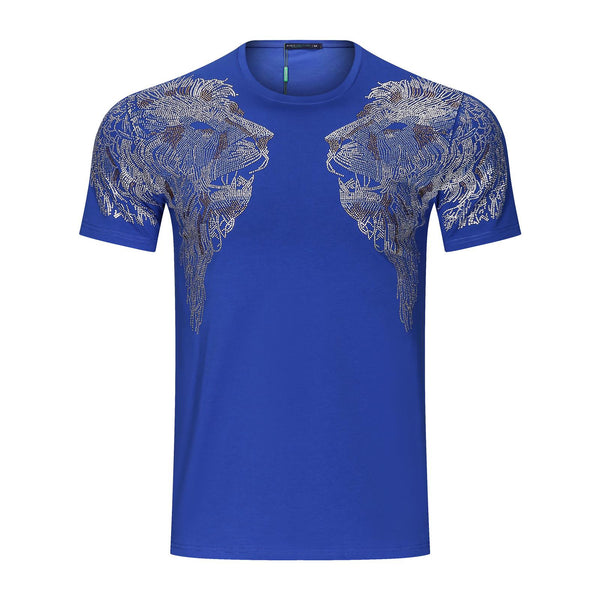 Suslo Couture Blue Lion | Rhinestone T-Shirt