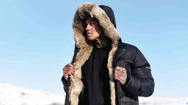 4BIDDEN Clothing Tornado Fur Lined Parka Jacket - Black