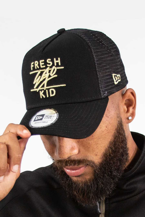 Fresh Ego Kid Mesh Trucker New Era Cap - Black/Gold
