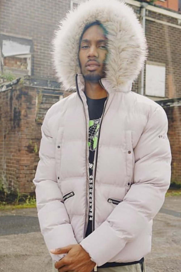 4BIDDEN Majestic Fur Hood Puffa Jacket - Grey
