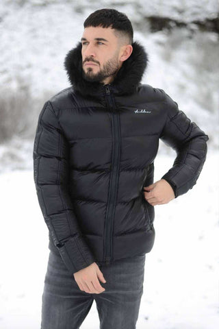 4BIDDEN Newton Faux Fur Hood Puffa Jacket - Black
