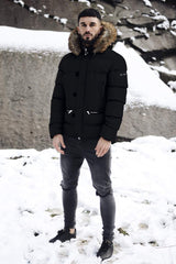 4BIDDEN Precision Fur Hood Parka Jacket - Black - 1