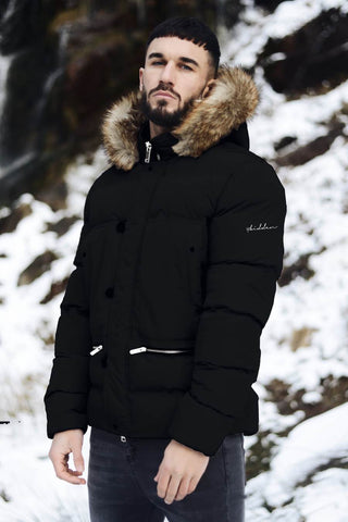 4BIDDEN Precision Fur Hood Parka Jacket - Black