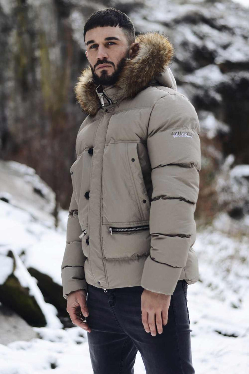 4BIDDEN Precision Fur Hood Parka Jacket - Grey