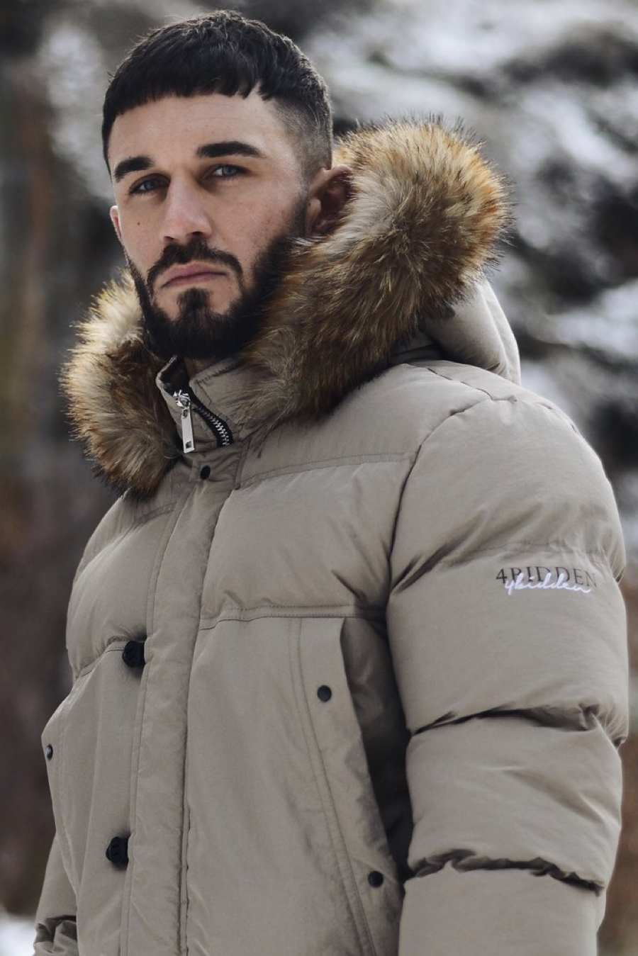 4BIDDEN Precision Fur Hood Parka Jacket - Grey - 2