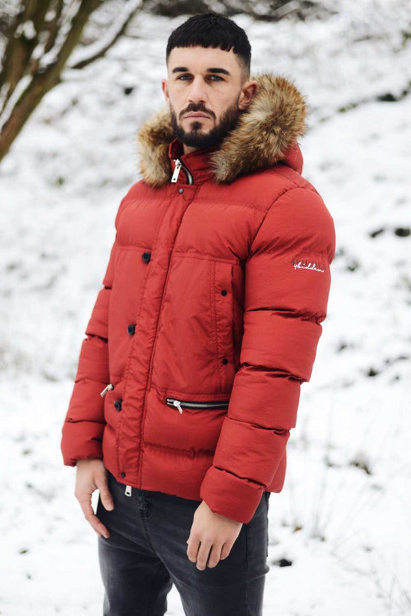 4BIDDEN Precision Fur Hood Parka Jacket - Red