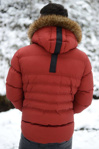 4BIDDEN Precision Fur Hood Parka Jacket - Red - 1