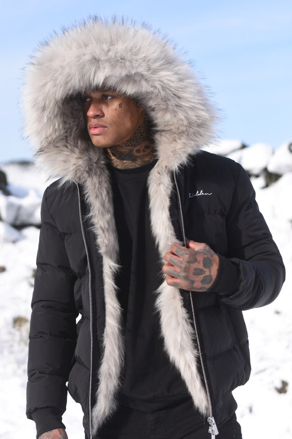 4BIDDEN Rage Fur Lined Puffa Jacket - Black