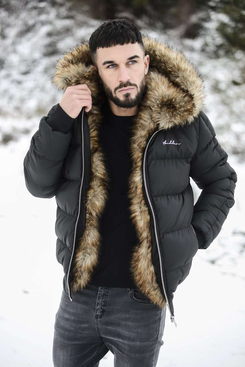 4BIDDEN Rawlin Faux Fur Lined Puffa Jacket - Black