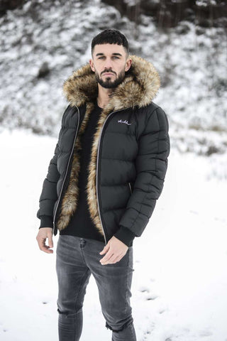 4BIDDEN Rawlin Faux Fur Lined Puffa Jacket - Black - 1