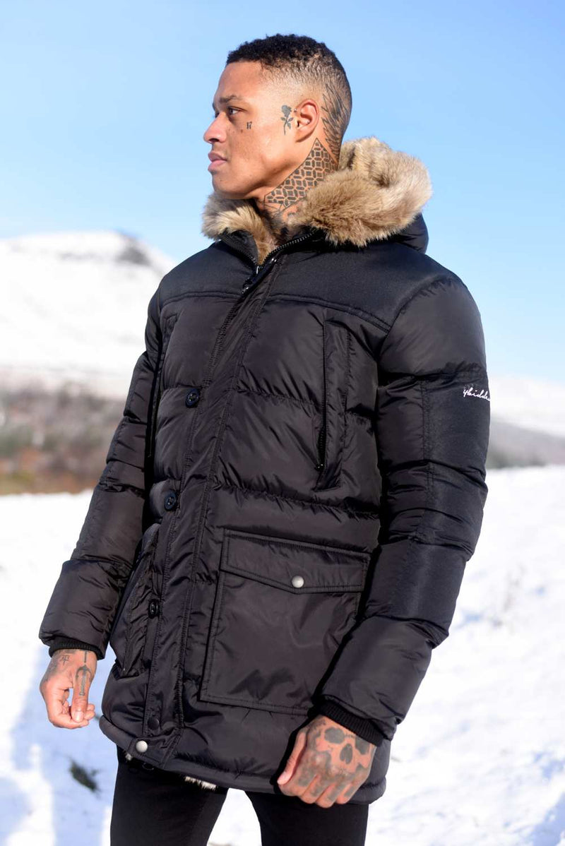 4BIDDEN Tornado Fur Lined Parka Jacket - Black - 1