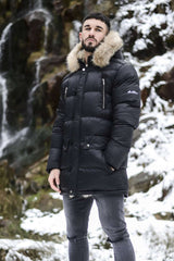 4Bidden Blizzard Fur Lined Parka Jacket - Black - 1