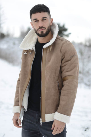 4Bidden Pilot Fur Lined Shearling Jacket - Tan