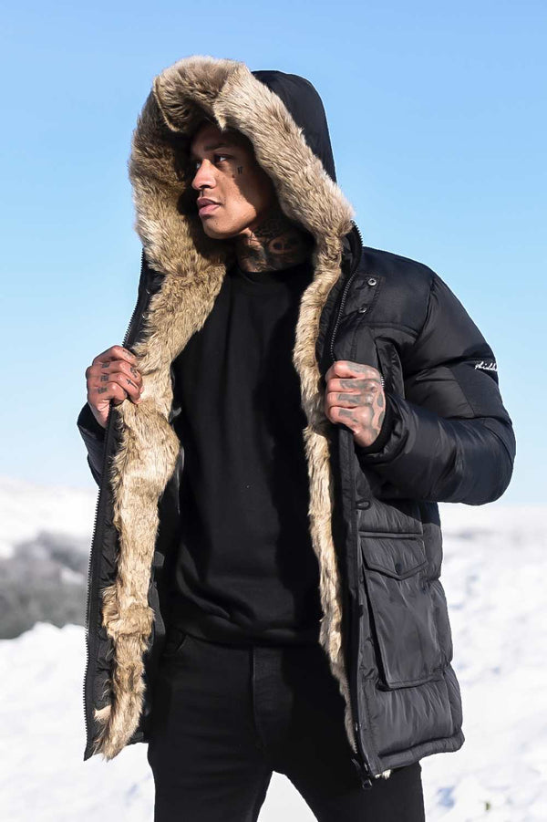 4BIDDEN Tornado Fur Lined Parka Jacket - Black
