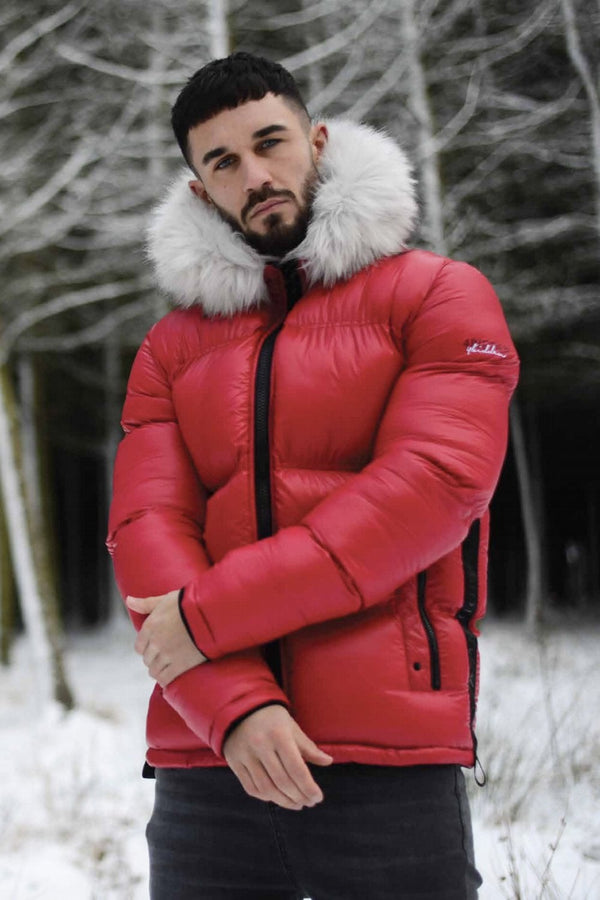 4BIDDEN Atlantic Fur Hood Puffer Jacket - Red