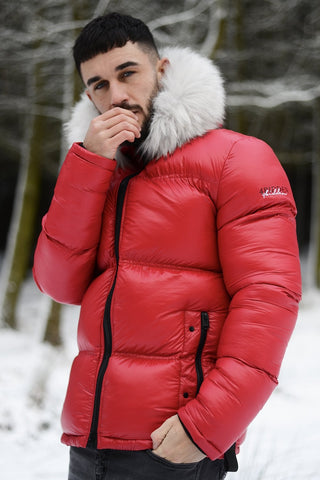 4BIDDEN Atlantic Fur Hood Puffer Jacket - Red - 1