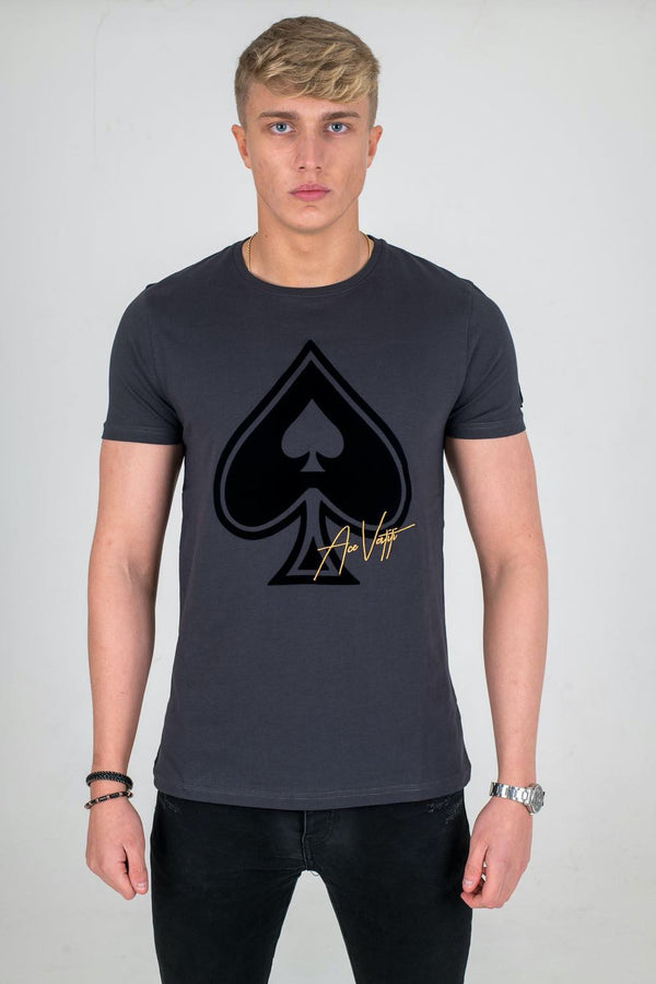 Ace Vestiti Ace Flocked Spade T-Shirt - Grey