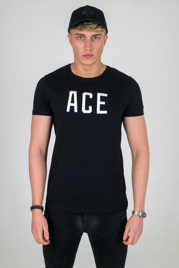 Ace Vestiti Ace Text T-Shirt - Black/White