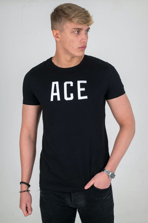 Ace Vestiti Ace Text T-Shirt - Black/White - 1