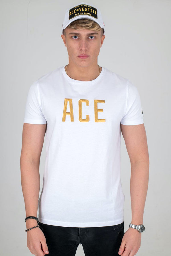 Ace Vestiti Ace Text T-Shirt - White/Gold