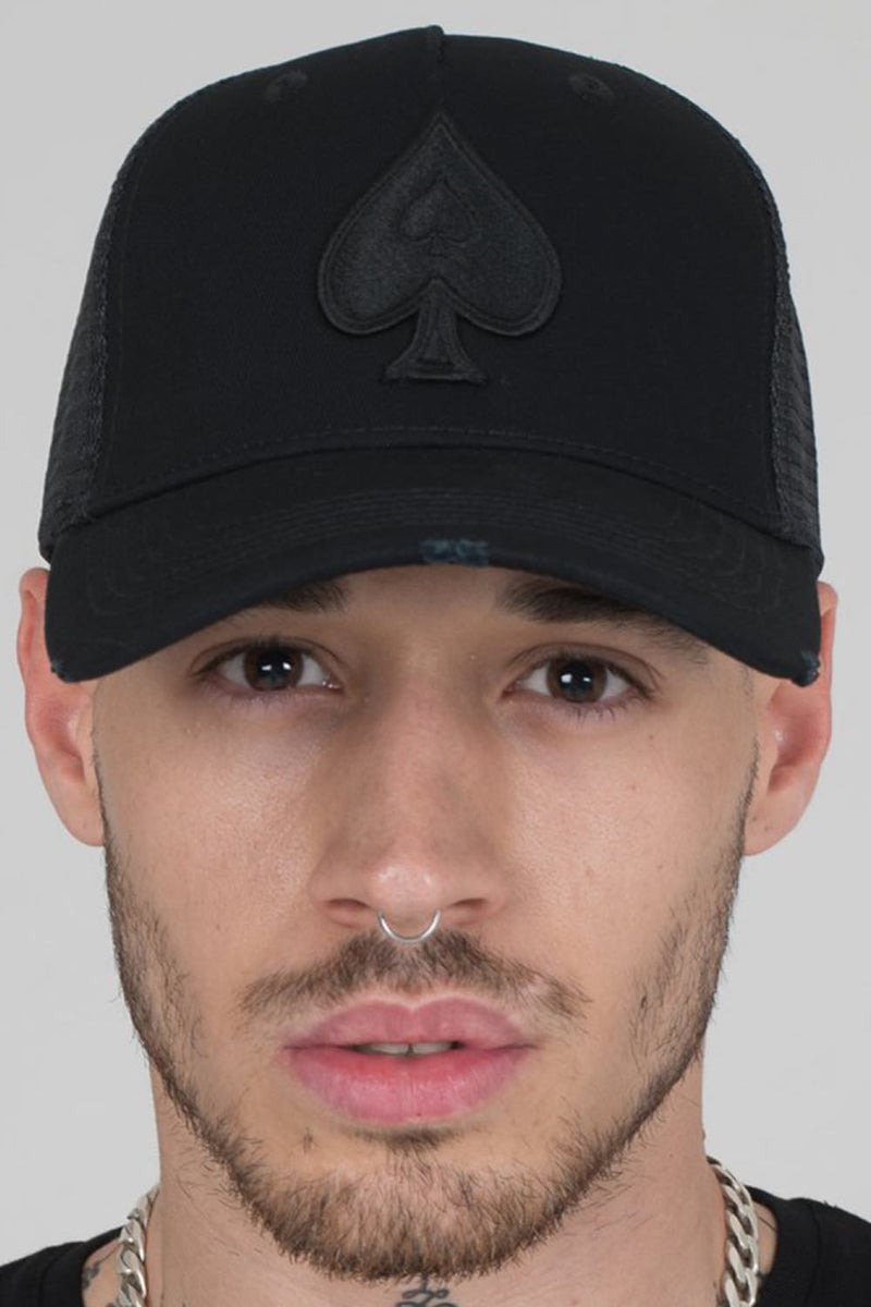 Ace Vestiti Distressed Trucker Cap - Black - 1