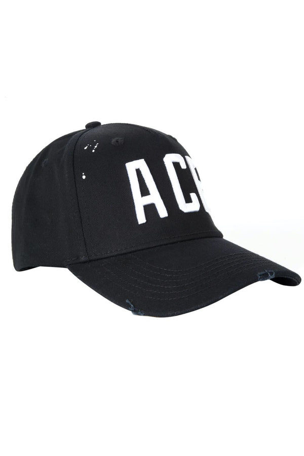 Ace Vestiti White Lettering BaseBall Cap - Black - 2
