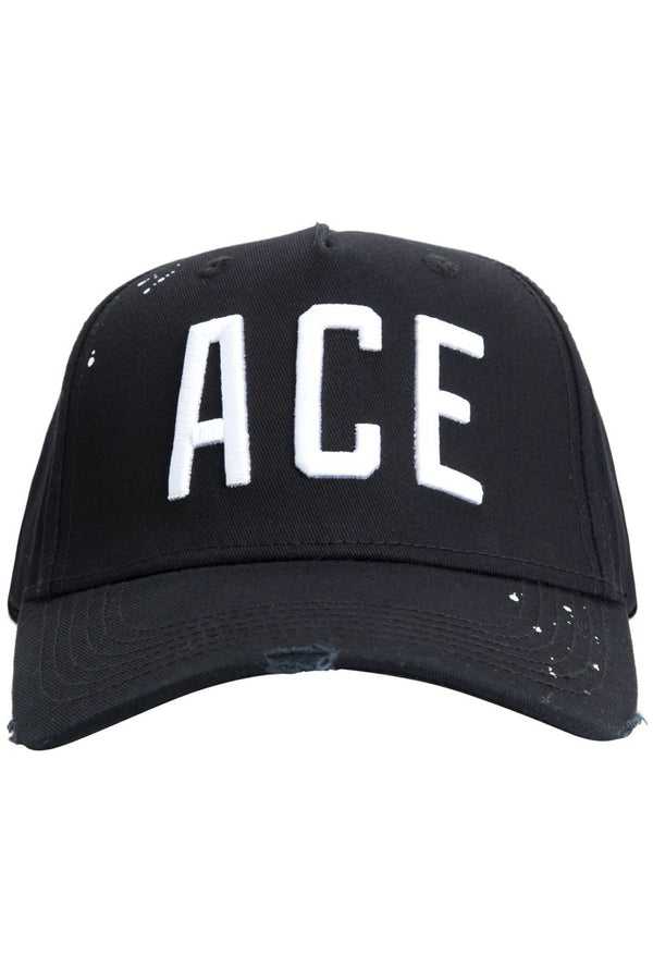 Ace Vestiti White Lettering BaseBall Cap - Black - 1