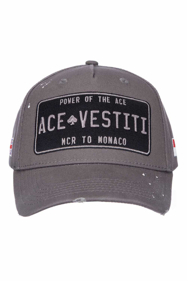 Ace Vestiti Distressed Plated Baseaball Cap - Grey