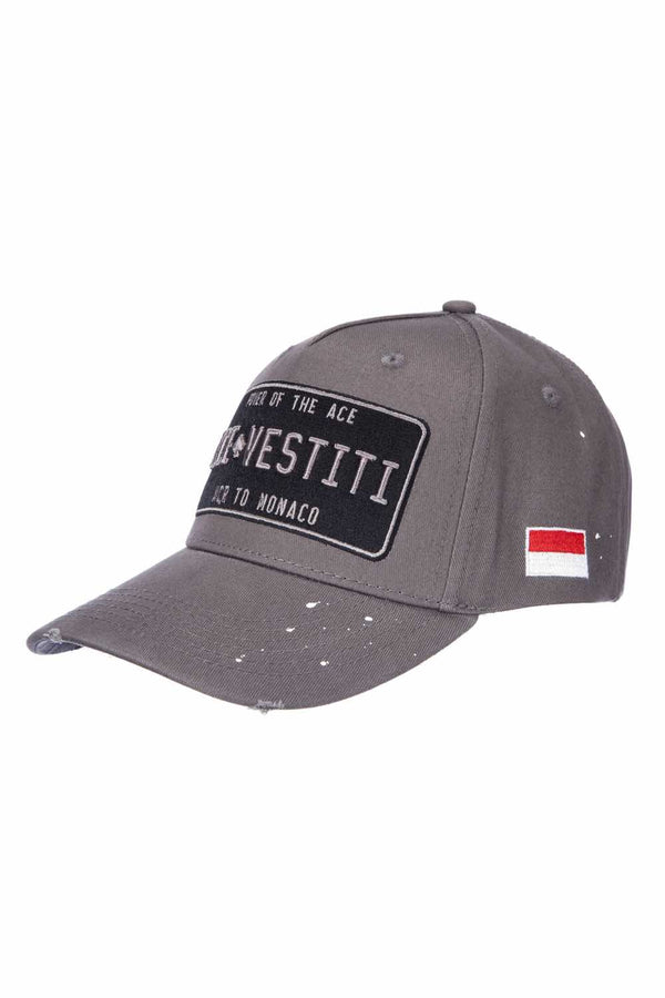 Ace Vestiti Distressed Plated Baseaball Cap - Grey - 1