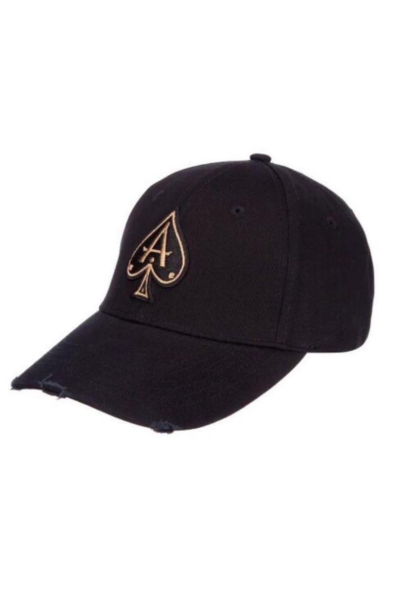 Ace Vestiti Distressed  BaseBall  Cap - Black/Gold