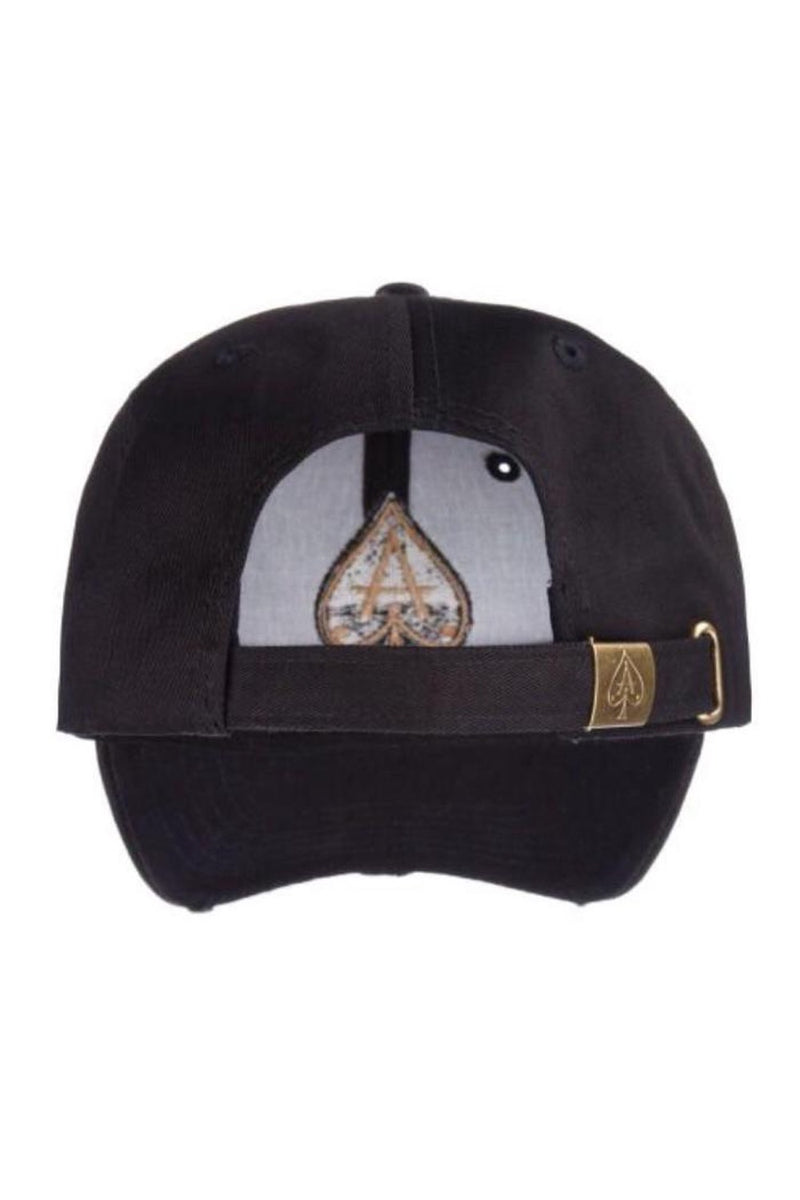 Ace Vestiti Distressed  BaseBall  Cap - Black/Gold - 2