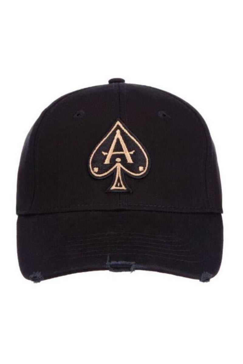 Ace Vestiti Distressed  BaseBall  Cap - Black/Gold -1
