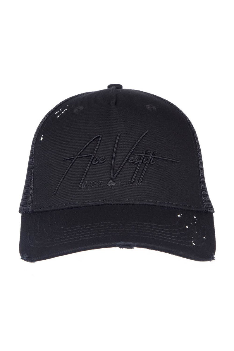 Ace Vestiti Distressed Paint Splat Signature Cap - Black - 1