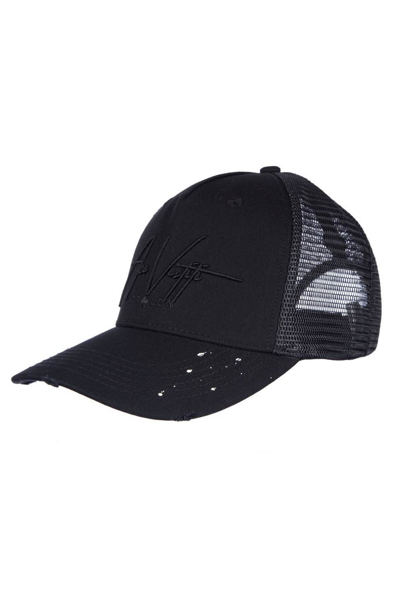 Ace Vestiti Distressed Paint Splat Signature Cap - Black