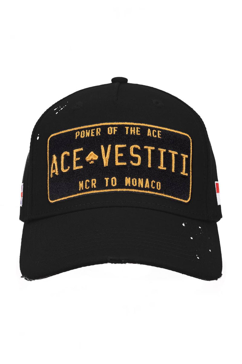 Ace Vestiti Distressed Paint Splatt Plate Cap - Black - 1