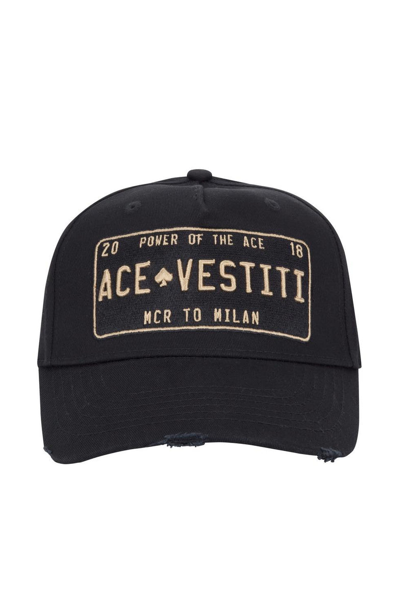 Ace Vestiti Distressed Plate Cap - Black/Gold
